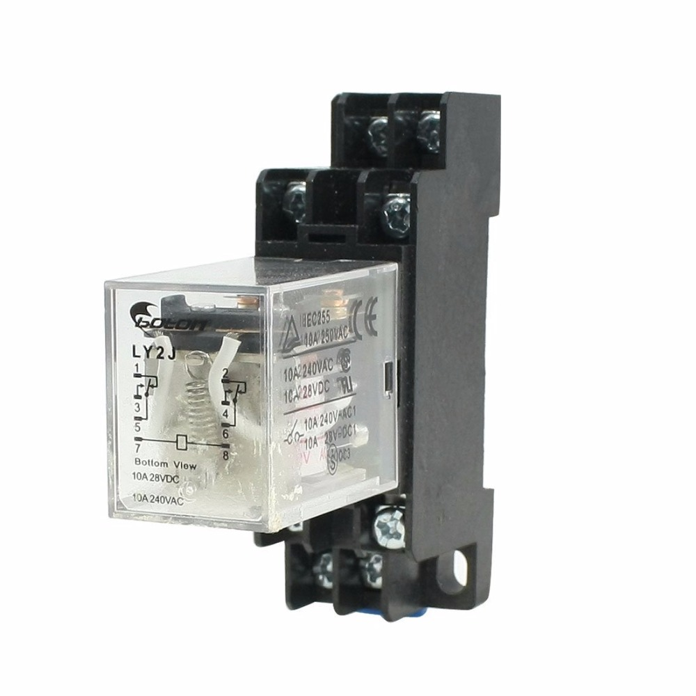 AC 110V Coil Power Relay 10A DPDT LY2NJ with PTF08A Socket Base