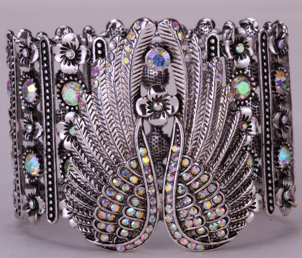 Angel wings stretch cuff bracelet for women biker crystal punk jewelry antique silver color wholesale dropshipping D05