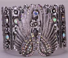 Alas de ángel tramo brazalete pulsera para las mujeres motorista punky cristalino de la joyería de plata antigua plateada al por mayor dropshipping D05