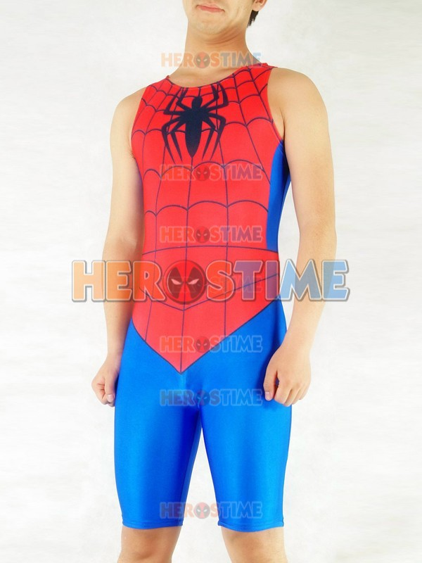 New Spiderman Catsuit Red & Blue Spandex spiderman Superhero costume full body zentai siut Free Shipping