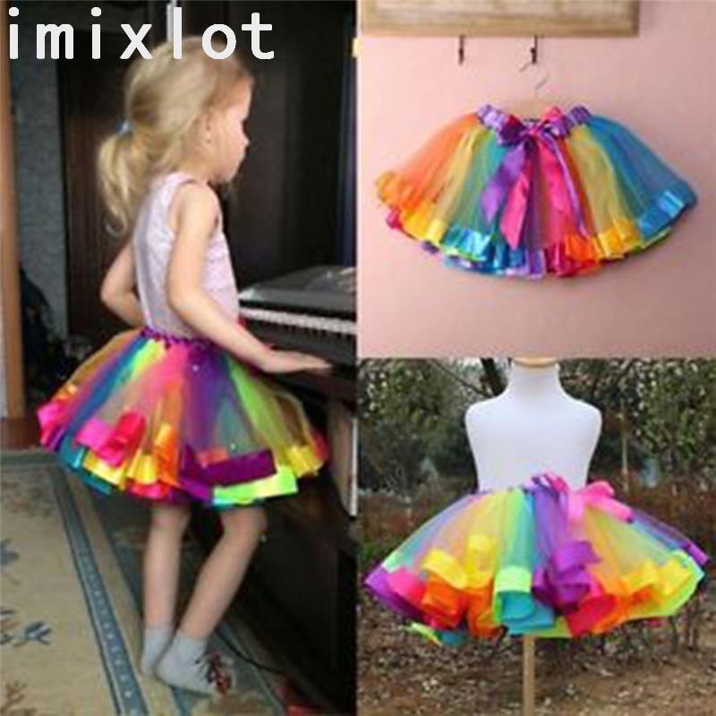 Imixlot 1 pc Filles Jupe Bouffante Enfants Accessoire De Danse Fil Net Arc-En-Ciel Robe de Soirée Performance Décoration Danse Accessoires
