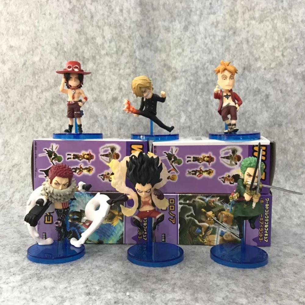 Anime 6pcs/set One Piece World Whole Cake Island 3 WCF Luffy Zoro Sanji Ace Marco Charlotte Katakuri Toys Collectable Figure