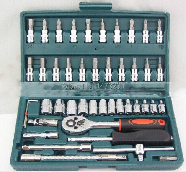 ФОТО Hot sale  New 46pcs set Repair Tools Socket Set Sleeve Combination Tool Kit Car Care Tools