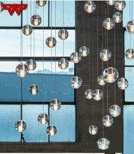 Новый метеоритный душ хрустальный стеклянный шар подвесной светильник простое освещение личность креативная лестница лампа светодио дный фонари Бесплатная доставка