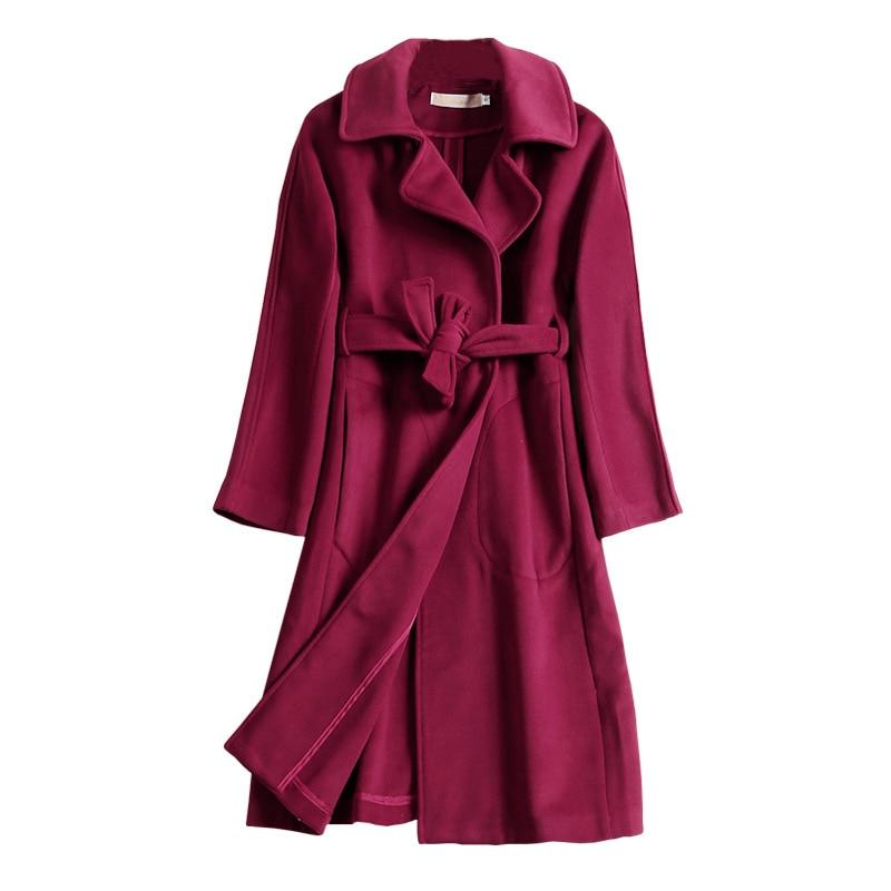00eb2d1fcacb0 Femmes Cachemire Manteau réel Laine Casual Longue printemps et automne  style De Mode Veste Manteau avec Blelt Vin rouge Survêtement Occasionnel
