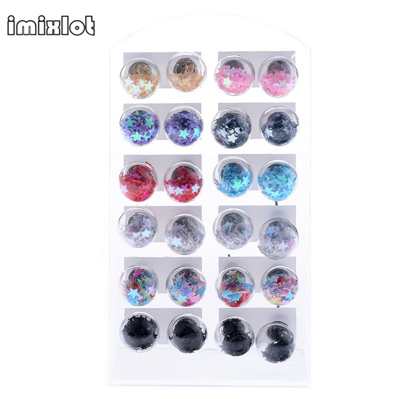 Imixlot 2017 Limited Hot Sale Round Trendy Glass Earings 12 Pairs Lots Women Fashion Jewelry Beads Studs Earrings Wholesale