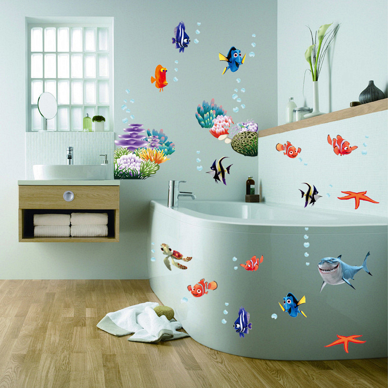 Leia Nemo Dory Fish Wall Decals Kids Magamistuba Vannituba Dekoratiivsed Kleebised Diy Cartoon Movie Animals Mural Art Laste kingitus