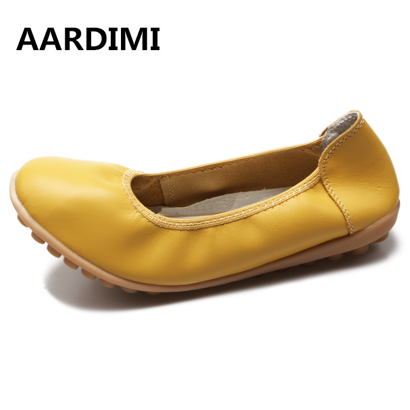 Summer solid 5 colors genuine leather ballet flats women casual round toe ballerina flat shoes woman moccasins fashion pointed toe women shoes solid patent pu brand shoes women flats summer style ballet princess shoes for casual crystal