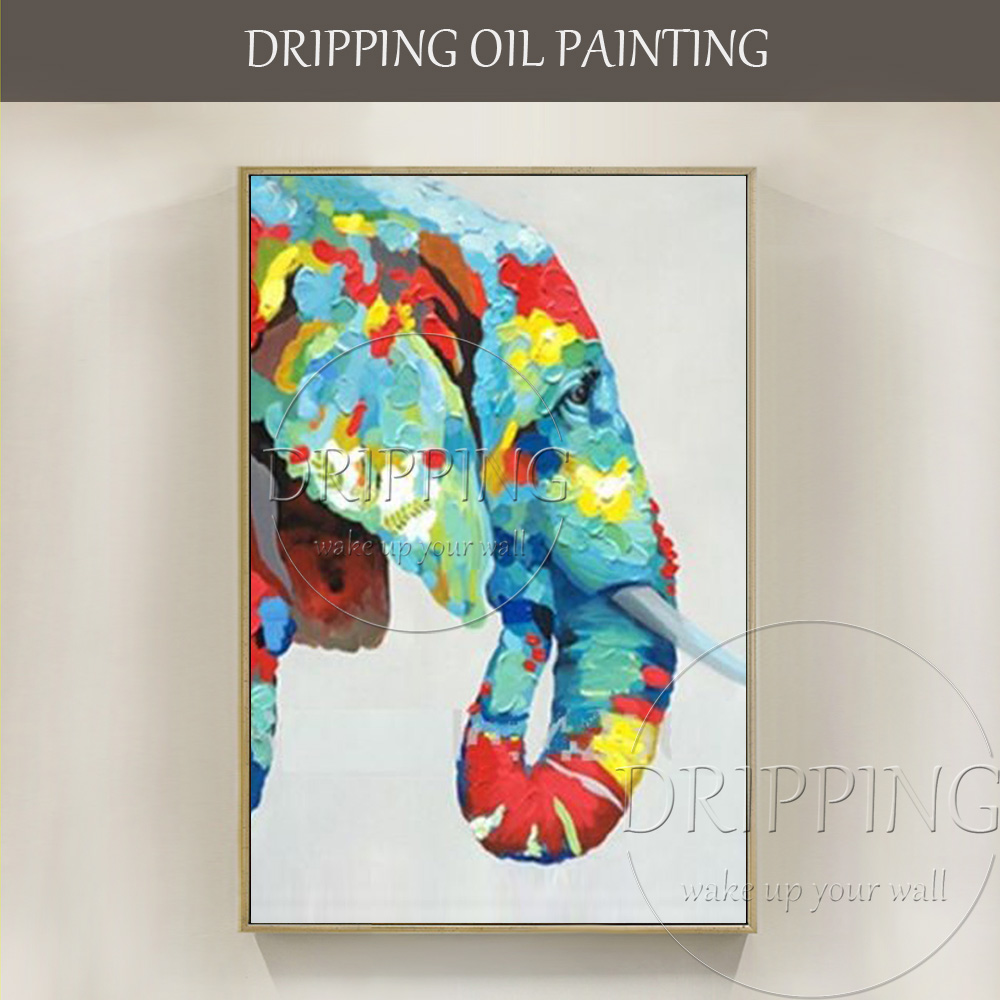 Colorful Design Modern Animal Elephant Oil Painting for Wall Decor ...