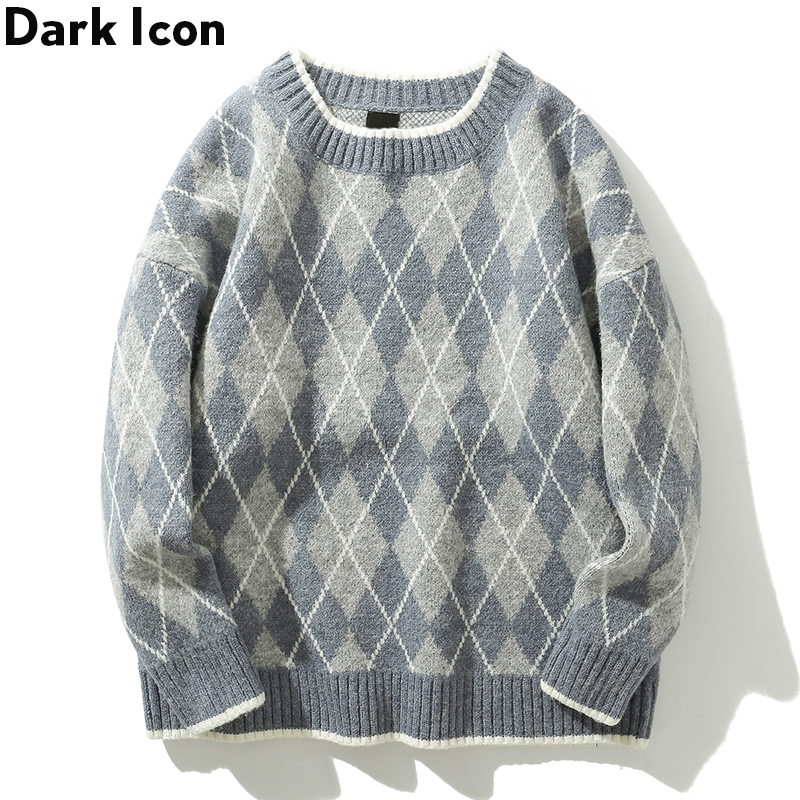 Dark Icon Rhombus Sweater Men Round Neck Men's Sweater