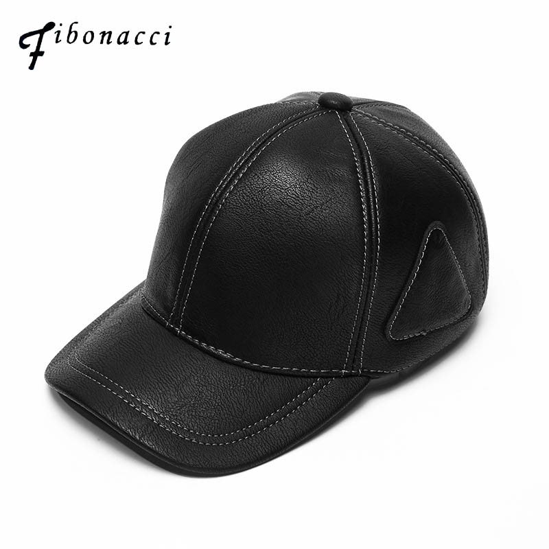 Fibonacci High quality middle aged black men's   baseball     cap   leather adult patchwork adjustable autumn winter dad hats