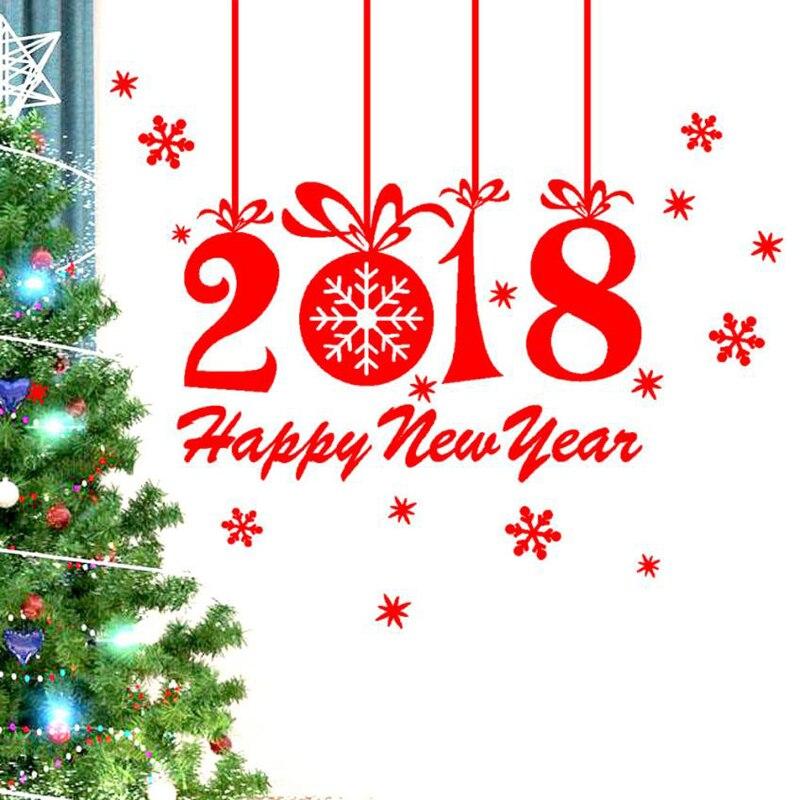 2018 Merry Christmas Art Wall Sticker Family Living room bedroom DIY Home Decoration PVC ...