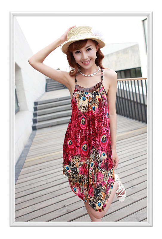 Sexy Plus Size Novelty Peacock Feathers Beach Dress Women Casual