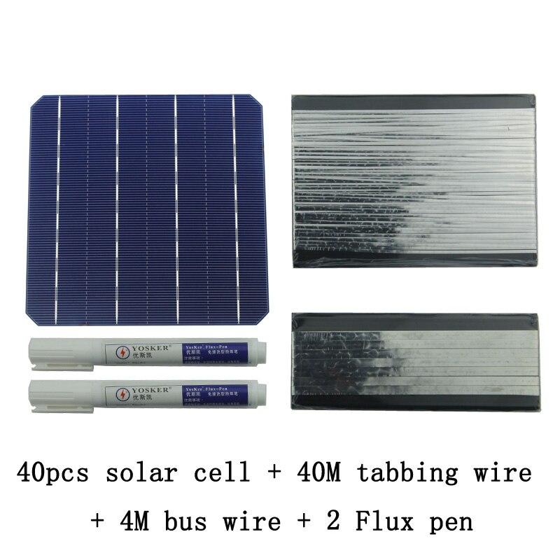 40 Pcs Monocrystall Cellule Solaire 6x6 Avec 40 M Tabulation Fil 4 M Fil De Barres et 2 Pcs Flux Stylo