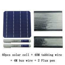 40 шт. монокристалла солнечных батарей 6×6 с 40 м табуляции Провода 4 м шин Провода и 2 шт. ручка поток