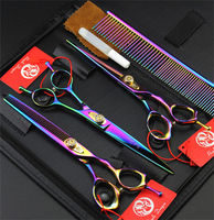 Top Professional Pet Dog Grooming Scissors 7.0 Cutting&Thinning&Curved Scissors Set& Steel Comb Case JP440C Hairdressing Shears