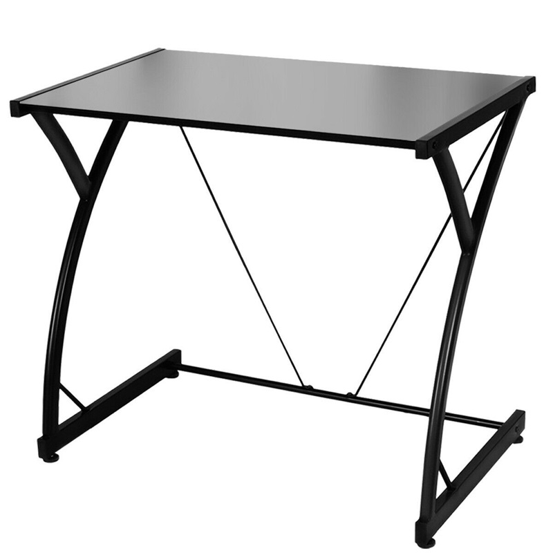 Simplistic Tempered Glass Top Computer Desk Writing Study Workstation Classic Sturdy Steel Z-shaped Frame Gaming Desk HW54037
