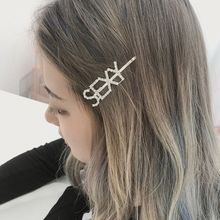 Get more info on the English Letter Hairpin Barrette Rhinestone Alloy Personality Word Women Girls Hair Clips Hairclip Hair Accessories For Hair
