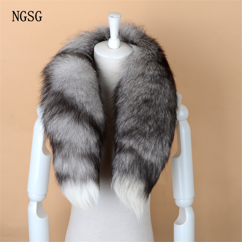 NGSG Real Fox Fur   Scarf   Women Men Striped Winter Warm 80-90CM Long Tail   Scarf   Fashion Luxury Collar   Scarves     Wraps   Female W001