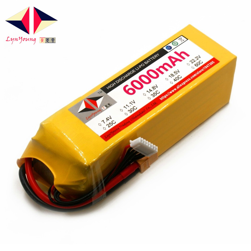 LYNYOUNG RC <font><b>Lipo</b></font> Battery <font><b>6S</b></font> 22.2V <font><b>6000mAh</b></font> 35C max 70c for boat helicopter quadcopter car drone image