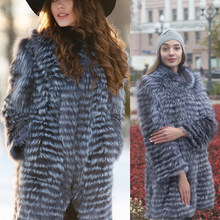 Ethel Anderson Winter Women Silver Fox Fur Coat Warm Real Fox Fur Jacket Natural Fur Trip Sewed Style Fox Fur Overcoat(China)