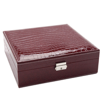 Double Layer With Lock Girl Gift PU Jewelry Box Organizer Lint Cosmetic Earring Portable Storage Case Ring Display