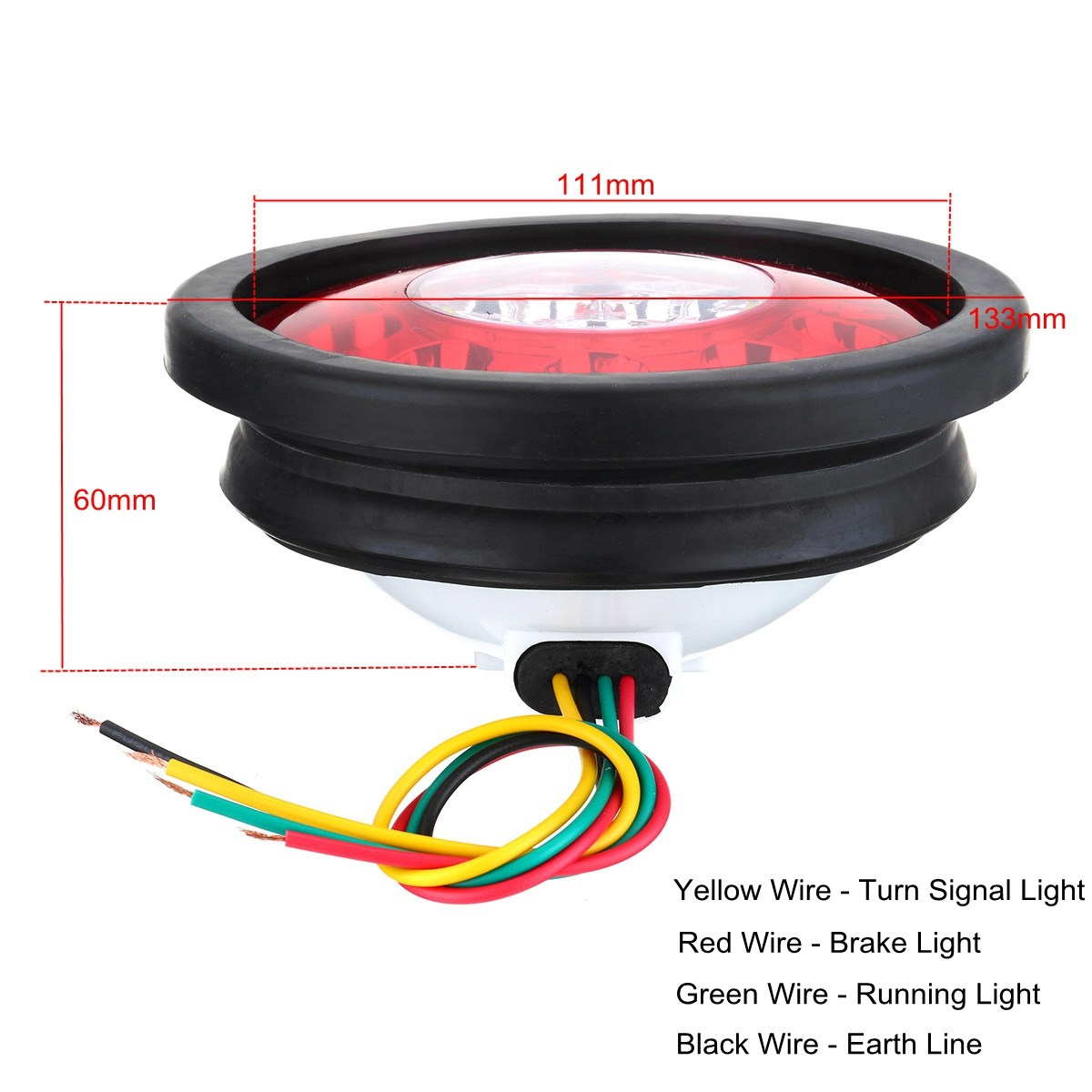 2pcs 12v 24v Round Black Rubber Ring Car Tail Lamp Yellow Red 19 Led Wiring A Earth Truck Trailer Lorry Brake Stop Turn Light In Signal From Automobiles