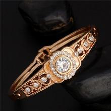 SHUANGR 1 шт. розовое золото цвет Королевский австрийский кристалл женский закрытый Браслет диаметр. 5,7 см TZ221