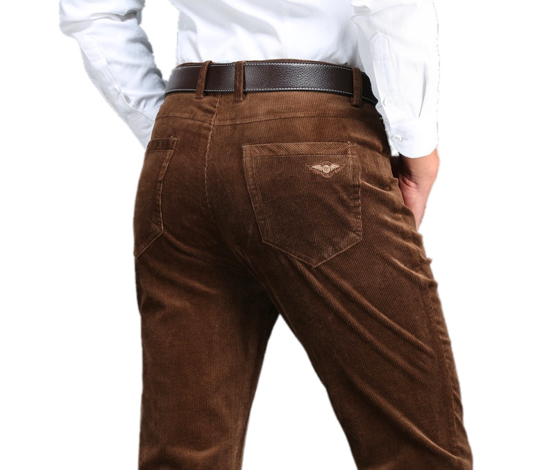 a8b44afbc0 Men Corduroy Business Pants Autumn Winter Male Casual Thick Straight Elastic  5 Color Warm Baggy Fleece ...