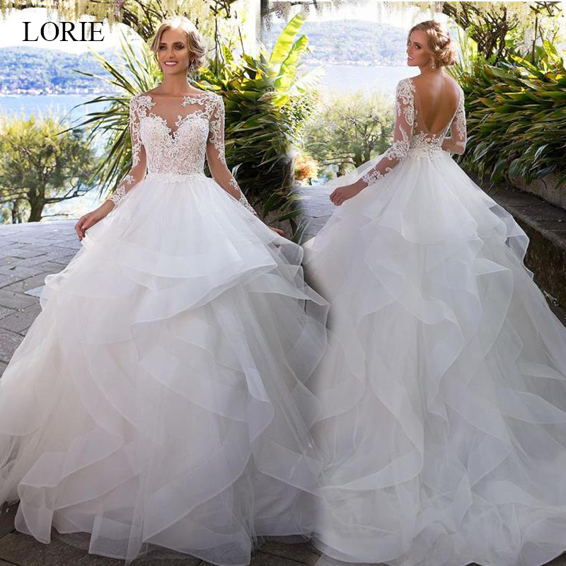 LORIE Wedding Dress 2019 Long Sleeve Organza with Lace Appliques Ball Gown White ivory Sweetheart Court