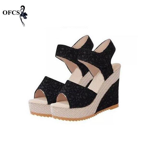 Дамские сандалии размеры 35–40 Лето 2017 Модные летние сандалии клиновидный высокий каблук открытый носок на платформе дамская обувь дамская обувь