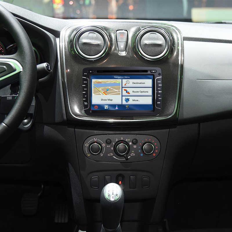 Один Din 7-дюймовый ips Android 8,1 автомобилей Радио мультимедийный плеер для Dacia Renault Duster Logan Sandero gps Navi Wi-Fi TPMS OBD2 4G SWC