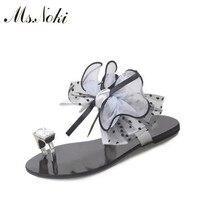 Ms. Noki/Цветочный Сладкий сандалии женщин Кристалл плоские сандалии 2017 г. летние женские ботильоны на низком каблуке повседневная обувь