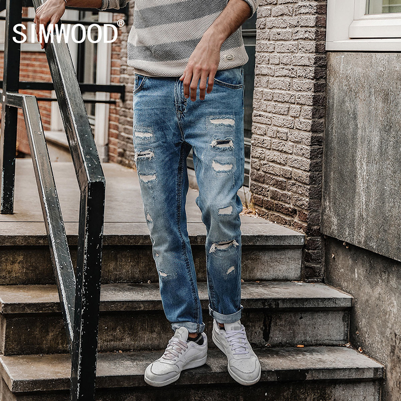 SIMWOOD 2017 Autumn Jeans Men Slim Fit Fashion Hole Denim Trousers Brand Clothing NC017005 men s cowboy jeans fashion blue jeans pant men plus sizes regular slim fit denim jean pants male high quality brand jeans