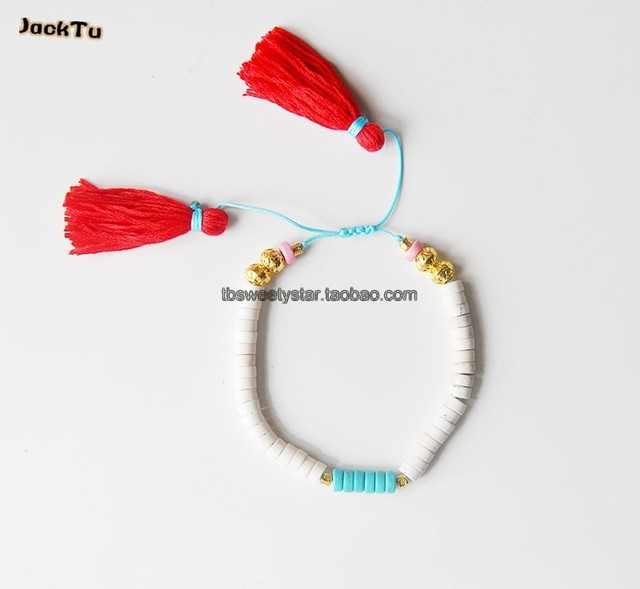 Бирюзовый шт красный кисти браслет
