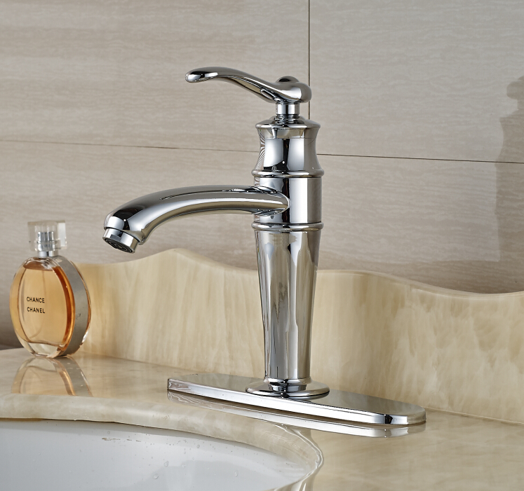 Free Shipping ! Modern Deck Mounted Chrome Finished Sink Tap Bathroom Basin Faucet Mixer Tap  With Base Plate free shipping high quality chrome finished brass in wall bathroom basin faucet brief sink faucet bf019