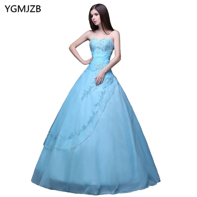 Light Blue Quinceanera Dresses Ball Gown Long Puffy Crystal Sweetheart  Organza Vestidos De 15 Prom Dress For Girls cc31f4f793fe