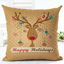 цены на 2019 Happy New Year Decor Christmas Decorations for Home Merry Christmas Santa Claus Gift Pattern Square Linen Pillowcase 45x45  в интернет-магазинах
