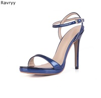 Concise Style Woman blue sandals Summer High Quality Leather ankle buckle Sexy Pumps thin heel female dress shoes high heels