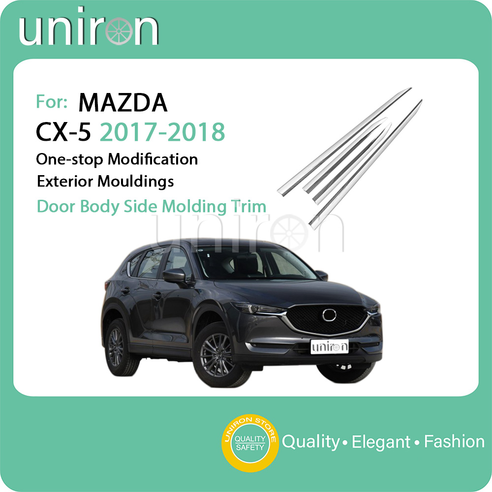 Uniron untuk cx5 mazda cx 5 2017 2018 oleh body side moulding trim strip stiker abs chrome eksterior accessorie moulding styling di chromium styling dari