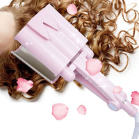 32mm Ceramic Three tube Hair curler Triple Barrel Deep Wave water ripple egg rolls hair curling iron Hair Styling tool P42