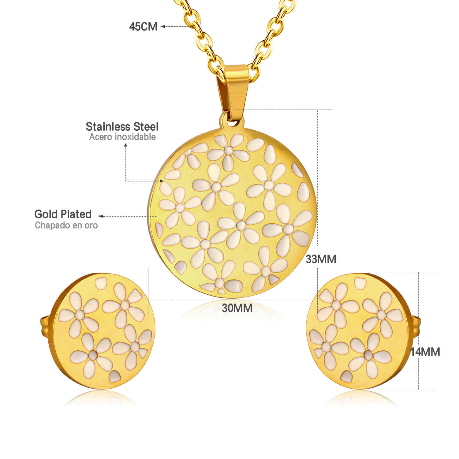 LUXUKISSKIDS Luxury Women Jewelry Sets Gold-Color Stainless Steel Round Shell Necklaces + Earrings Jewelry Sets