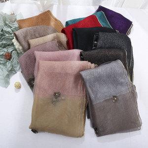Image 5 - Brand 2020 Luxury Beads Silk Wool Scarf For Women Shawls High Quality Pashmina Girls Scarves Wrap Bandana Foulard Femme Hijab