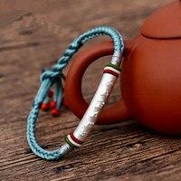 LKO Colourful corde reali argento Om mani padme hum per uomo e donna braccialetto stile nazionale Tailandese a mano corda spedizione libero