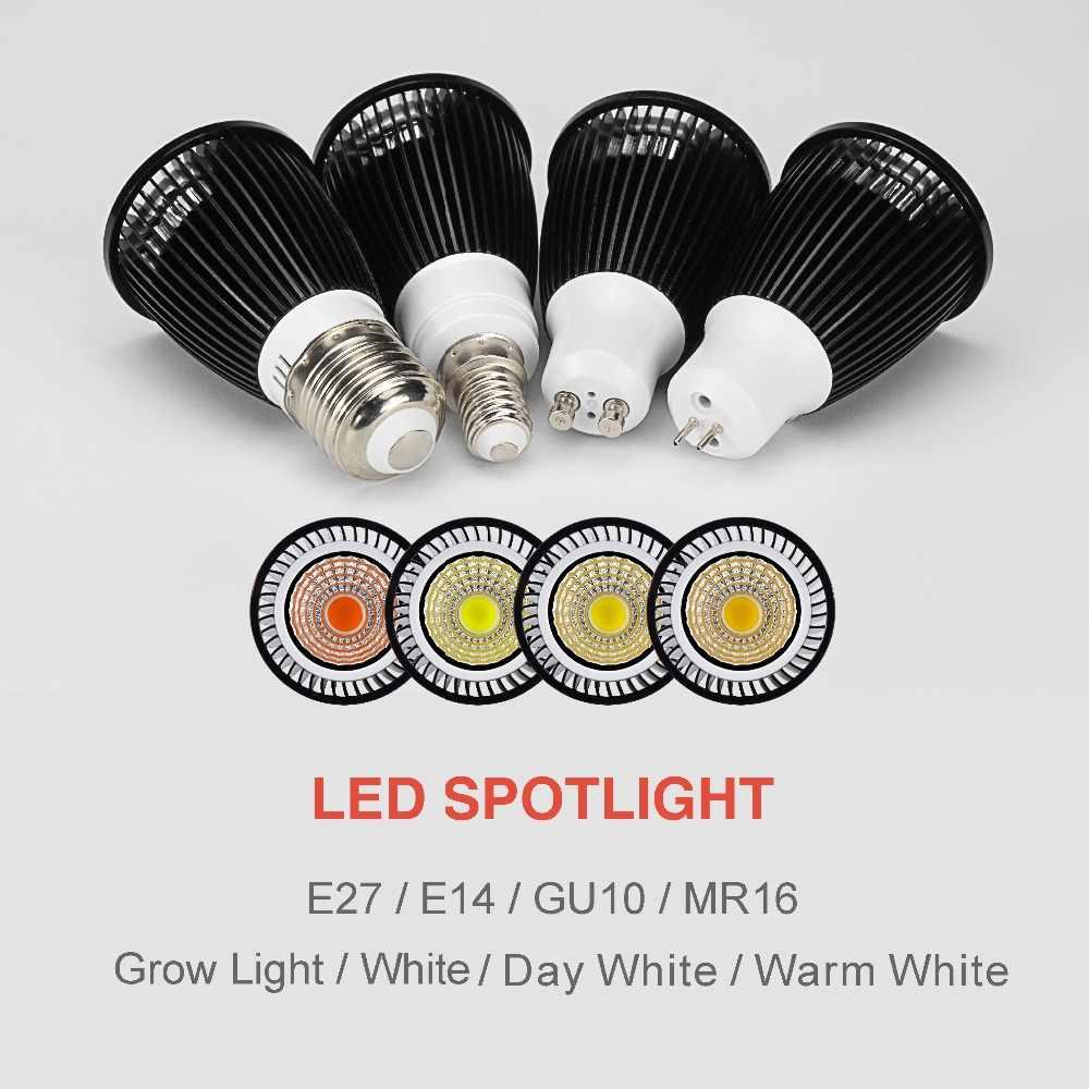 Светодио дный УДАРА прожектор GU10 MR16 E14 E27 AC220V 12 Вт 9 Вт 7 Вт 5 Вт диод чип холодный белый теплый белый день белый полный спектр пятно света лампы