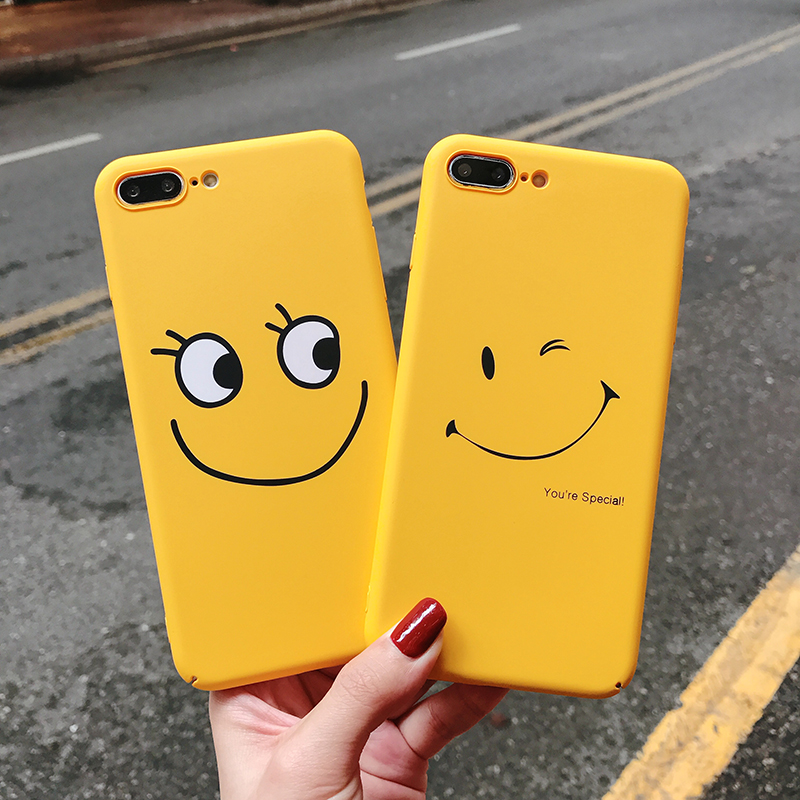 Fashion Clear Smiley Faces Emoticon Emoji Case for capinhas iphone 6 6s 7 8 X Plus hard PC plastic Cover Expression Accessories