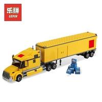 City Yellow Truck 02036 LEPIN Building Blocks Bricks Transportation Truck Model Set DIY Assemble Toys Educational