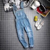 Корейская мода Для мужчин облегающие длинные джинсы комбинезоны мужчина Повседневное деним Комбинезон для человека штаны с подтяжками брю