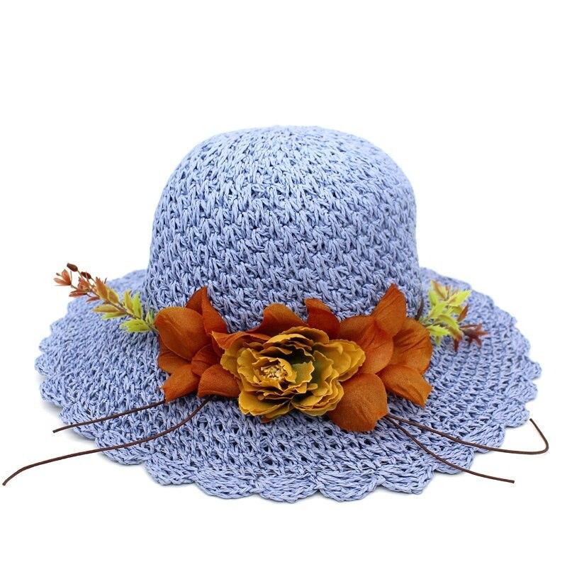 Minhui 2018 nueva moda flores sombreros de verano para las mujeres Niñas  playa plegable sombrero de paja floral CAPS mujer Sol sombrero en Sombreros  de sol ... 850c18a6c78