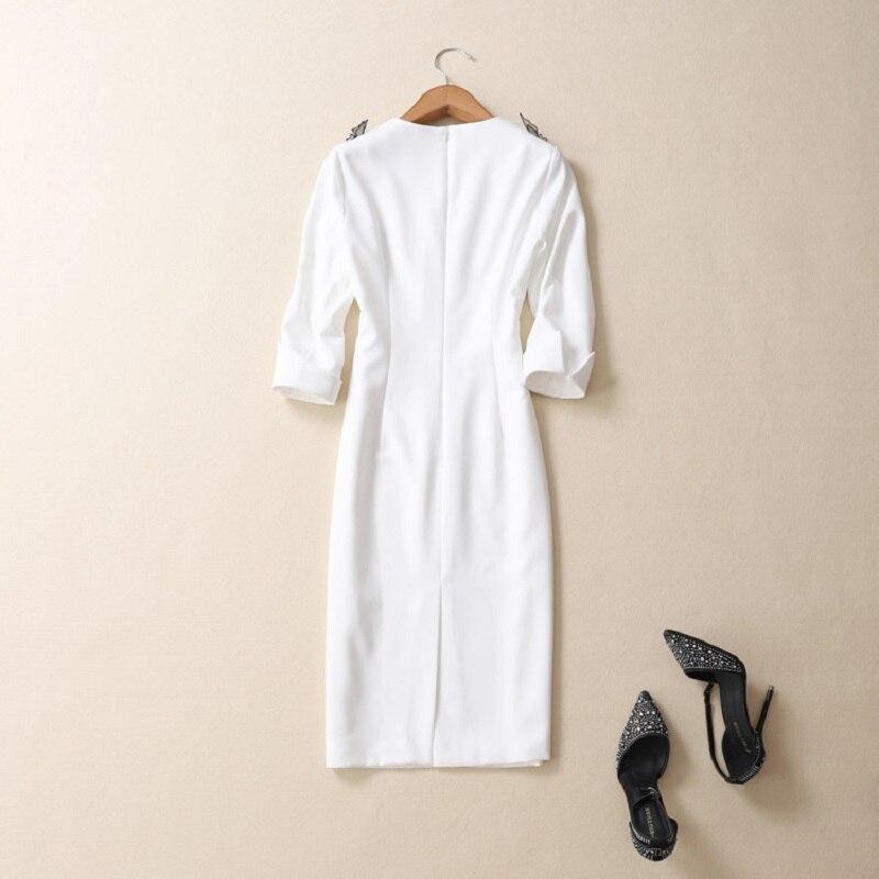 white Partie Manches Robe Mariée Mode 2019 Festa Broderie Blanc Femmes Papillon 4 Pink Rose Robes 3 Printemps Été Gaine De Moulante ROFqngdFa